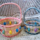 SET OF 2 ADORABLE PINK & BLUE EASTER EGG BASKETS ***SO CUTE***