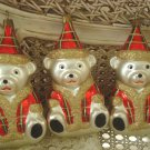 SET OF 3 VINTAGE BLOWN GLASS MATTE SILVER TEDDYBEAR CHRISTMAS ORNAMENTS