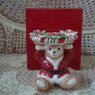 FITZ AND FLOYD PEPPERMINT TEDDY CHRISTMAS BEAR CANDLE HOLDER ***NEW IN BOX***