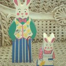 TWO EASTER BUNNY FIGURINES EASTER DECOR **VERY CUTE**