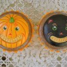 DEPARTMENT 56 HALLOWEEN CUPCAKE TRINKET BOXES PUMPKIN & BLACK CAT  **WHIMSICAL**