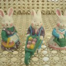 SET of 3 ADORABLE WHITE DRESSED EASTER BUNNY FIGURINES