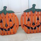 2 LARGE RUSTIC WOODEN PUMPKINS HALLOWEEN  DECORATIONS *COUNTRY CHARM*