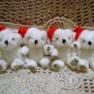 4 WHITE CHRISTMAS SANTA TEDDY BEARS JOINTED *NEW* *SO CUTE**