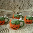 FITZ & FLOYD SET OF 4  PUMPKIN WITH GHOSTS MUGS HALLOWEEN RETIRED **SO CUTE**