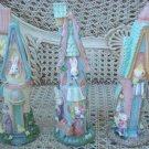 SET OF 3 TALL EASTER VILLAGE HOUSES WITH EASTER BUNNIES  ***ADORABLE***