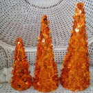 SET OF 3 HALLOWEEN TREES COVERED WITH ORANGE PUMPKIN SEQUINS & BEADING *SO CUTE*