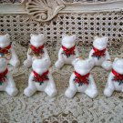 8 RETIRED DEPT 56 WHITE CERAMIC BEAR CHRISTMAS ORNAMENTS WITH METAL BOWS **NEW**