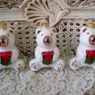 3 GORGEOUS TEDDY BEAR CHRISTMAS ORNAMENTS COVERED WITH SPARKLING GLITTER *NEW*