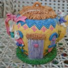 UNIQUE MINIATURE EASTER BUNNY TEAPOT HOUSE #3 *OPENS TO REVEAL INSIDE SCENE*