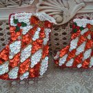 SET OF 2 DEPT 56 CHRISTMAS STOCKING SEQUIN TRINKET BOXES WITH HANGERS *SO PRETTY