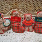 4 HARRODS OF LONDON CHRISTMAS TEDDY BEAR ORNAMENTS *NEW* **SO CUTE***