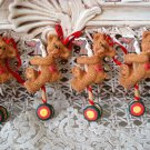 HOLLY BEARIES 4 RETIRED CHRISTMAS BEARS WITH HORSES CHRISTMAS ORNAMENTS **NEW**