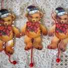 3 WHIMSICAL VINTAGE STYLE TEDDY BEAR WOODEN PULL TOY CHRISTMAS ORNAMENTS **NEW**