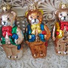 3 BLOWN GLASS ADORABLE TEDDY BEARS IN VESTS CHRISTMAS ORNAMENTS  **NEW**