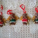 4 CUTE ANGEL BEAR ORNAMENTS WITH BELLS CHRISTMAS ORNAMENTS ***NEW***