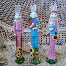 SET OF 3 TALL WHIMSICAL EASTER BUNNY FIGURINES ****SO CUTE*****