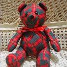 ADORABLE CHRISTMAS RED & GREEN FABRIC CHRISTMAS TEDDY BEAR *NEW* *SO CUTE**