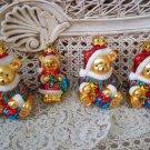 4 PRETTY TEDDY BEAR CHRISTMAS ORNAMENTS WITH SPARKLING GLITTER **SO CUTE** NEW