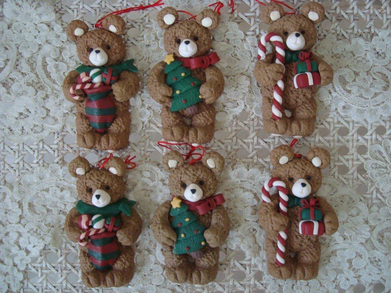 SET OF 6 ADORABLE BEAR CHRISTMAS ORNAMENTS ***NEW*** ***SO CUTE***