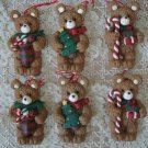 SET OF 6 ADORABLE BEAR CHRISTMAS ORNAMENTS ***NEW*** ***SO CUTE***