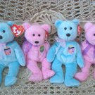 SET OF 4 ADORABLE TY EASTER BEARS WITH EASTER EGGS BEANIE BABIES ***RETIRED***