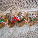 4 WOODEN JOINTED TEDDY BEAR WITH CANDY CANES & STOCKING CHRISTMAS ORNAMENTS NEW