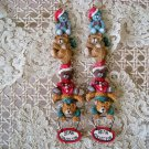 2 BEAR COLLECTOR CHRISTMAS ORNAMENTS STACK OF BEARS  **SO CUTE** *NEW*