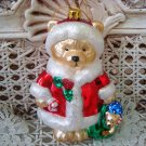 GORGEOUS TEDDY BEAR CHRISTMAS ORNAMENT IN RED COAT WITH SPARKLING GLITTER NEW
