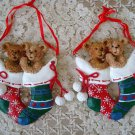 HOLLY BEARIES 2 RETIRED CHRISTMAS BEARS IN  STOCKINGS ORNAMENTS ***NEW***