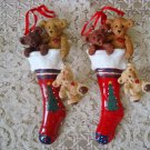 HOLLY BEARIES 2 RETIRED CHRISTMAS BEARS IN TREE STOCKING ORNAMENTS ***NEW***