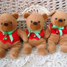 3 ADORABLE CHRISTMAS BEANIE TEDDY BEARS WITH BELL **SO CUTE** NEW