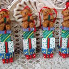 4 ADORABLE BEARS ON STACKS OF PRETTY PRESENTS CHRISTMAS ORNAMENTS ***NEW***