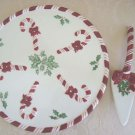 WHIMSICAL CHRISTMAS CANDY CANE LARGE CAKE PLATE & CAKE SERVER