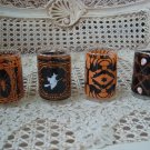 COLONIAL CANDLE SET OF 4 HALLOWEEN VOTIVE CANDLE HOLDERS WITCH SPIDER CATS SKULL