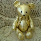 GORGEOUS VINTAGE LARGE GOLD LAME CHRISTMAS TEDDY BEAR **SO CUTE**