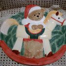 CHRISTMAS SANTA BEAR CERAMIC CHRISTMAS LARGE PLATTER FOR TREATS **SO CUTE**