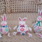 SET OF 3 DEPT 56 EASTER BUNNY FIGURINES WITH JIGGLY ARMS & LEGS