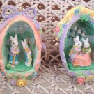 SET OF 2 BEAUTIFUL EASTER EGG ORNAMENTS WITH BUNNIES, ROSES & BOWS