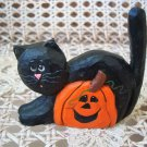 MIDWEST OF CANNON FALLS EDDIE WALKER BLACK CAT WITH PUMPKIN HALLOWEEN FIGURINE