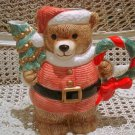CHRISTMAS SANTA BEAR CERAMIC CHRISTMAS PITCHER WITH WREATH **SO CUTE**