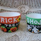 2 HALLOWEEN CERAMIC POTS WITH PUMPKINS GHOSTS CANDY CORN **SO CUTE**