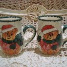 CHRISTMAS SANTA BEAR SET OF 2 CERAMIC CHRISTMAS MUGS ***SO CUTE***