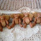 4 WOODEN JOINTED TEDDY BEAR ANGEL CHRISTMAS ORNAMENTS ***NEW****