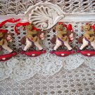 HOLLY BEARIES 4 RETIRED CHRISTMAS BEARS ON ROCKING HORSE CHRISTMAS ORNAMENTS NEW