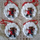 HOLLY BEARIES 4 RETIRED CHRISTMAS BEAR FRIENDS CHRISTMAS ORNAMENTS **SO CUTE**