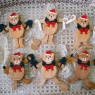 6 WOODEN JOINTED TEDDY BEAR CHRISTMAS ORNAMENTS TREES CANDY CANES BELLS *NEW*