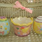 EASTER DECOR ONE EASTER CHICK BASKET & 2 GLASS EGGS WITH FLOWERS & BUNNIES