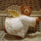 PAPER MACHE CHRISTMAS ANGEL TEDDY BEAR LARGE ORNAMENT **SO CUTE** NEW