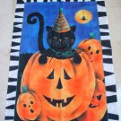 WHIMSICAL BLACK CAT IN PUMPKIN LARGE HALLOWEEN FLAG ****SO CUTE****